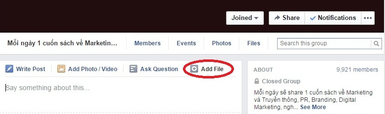 How to add a file to a facebook group?